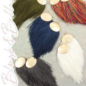 Oversized Boho Thread Tassel Drop Earrings